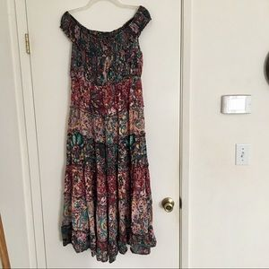 Free People floral cascade maxi dress L